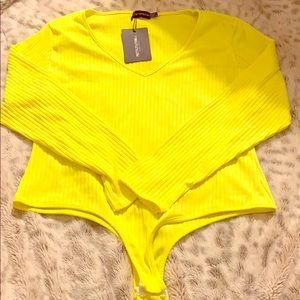 Plus Neon Yellow Rib Long Sleeve Bodysuit